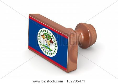 Wooden Stamp With Belize Flag