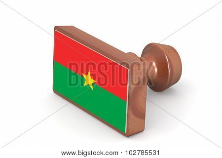 Wooden Stamp With Burkina Faso Flag