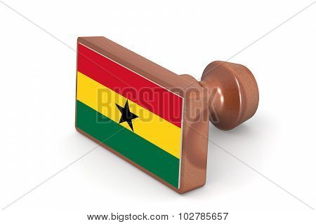 Wooden Stamp With Ghana Flag