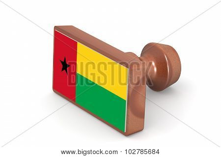 Wooden Stamp With Guinea Bissau Flag