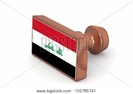 Wooden Stamp With Iraq Flag