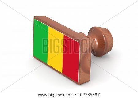 Wooden Stamp With Mali Flag