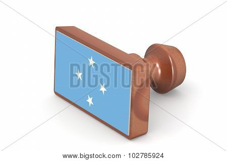 Wooden Stamp With Micronesia Flag