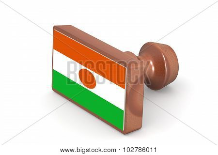 Wooden Stamp With Niger Flag