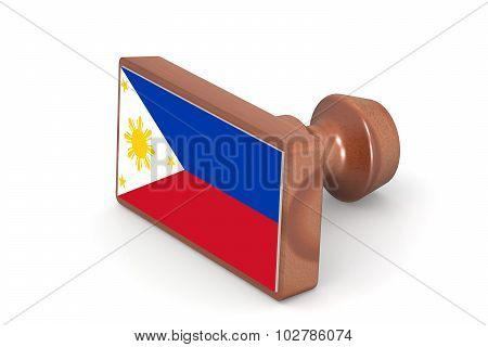 Wooden Stamp With Philippines Flag