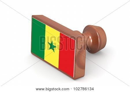 Wooden Stamp With Senegal Flag