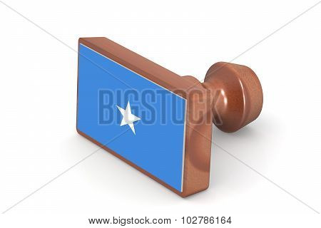 Wooden Stamp With Somalia Flag