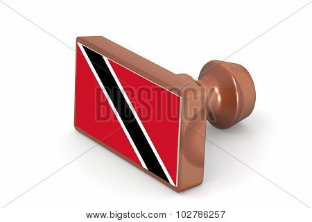 Wooden Stamp With Trinidad And Tobago Flag