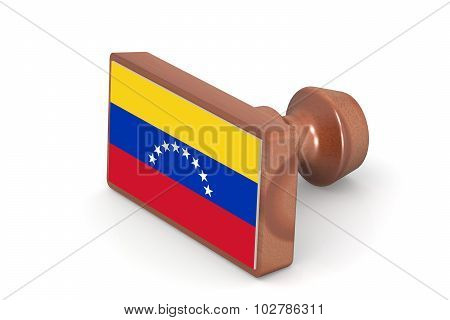 Wooden Stamp With Venezuela Flag