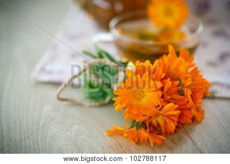 Herbal Tea With Marigold Flowers