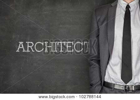 Architect on blackboard