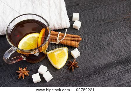 Cup Of Tea With Lemon, Cinnamon, Knitted Rug.