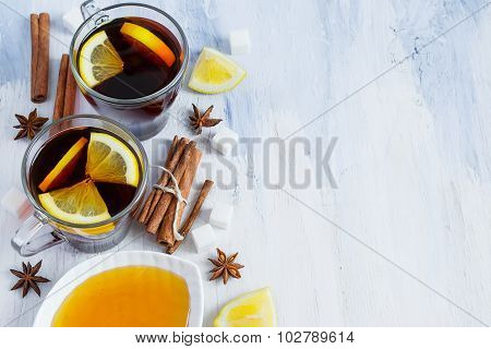 Black Tea With Lemon, Cinnamon And Honey