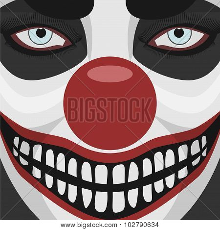 Evil Clown smiling Face