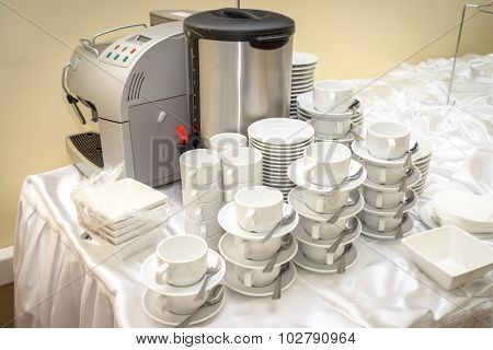 Close Up Stacks Of White Color Ceramic Coffee Cup And Dish Ready For Use In Party Room, Catering Ser