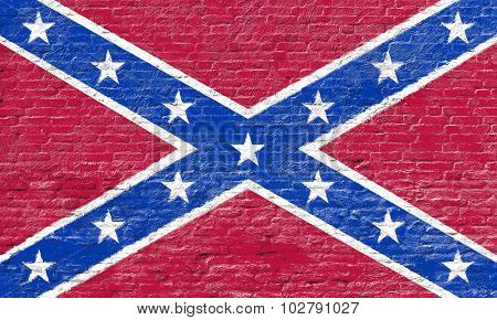 Confederate flag on Brick wall