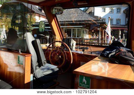 Wheelman's Seat On Small Passenger Boat.