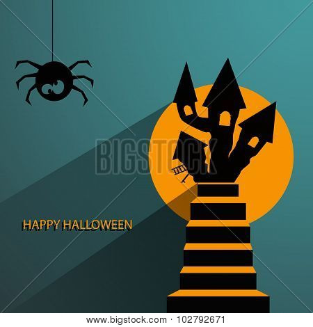 Tag, Label Or Sticker With Haunted House For Halloween Party Background Eps 10 Vector