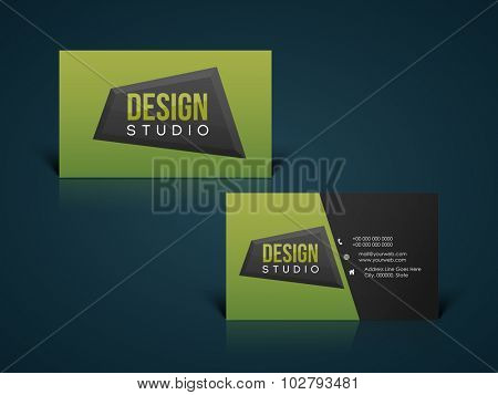 Glossy horizontal business card, visiting card, name card or calling card set for your profession, company and organization.