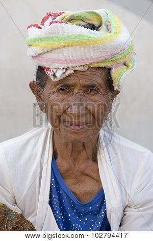 Portrait Old Woman To Bali Island, Indonesia