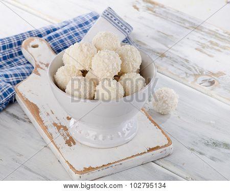 White Chocolate Coconut Truffles In Bowl.