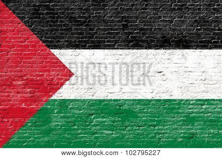 Palestine - National flag on Brick wall