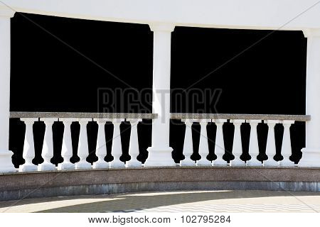 Classical Balusters Fragment Above Black Background