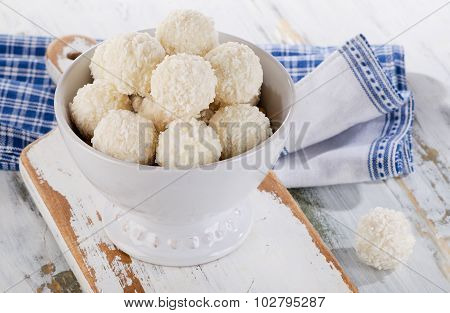 White Chocolate Candies In A Bowl.