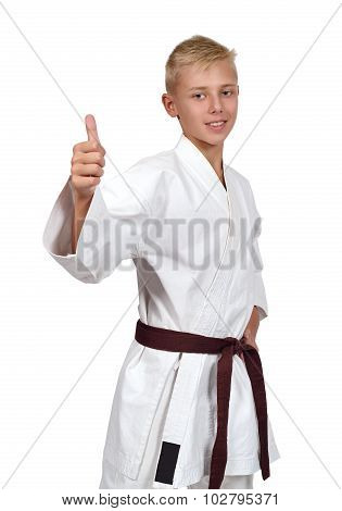Karate Boy Showing Thumb Up