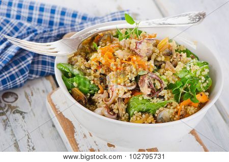 Salad With Quinoa And Seafood In Bowl.