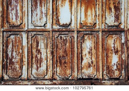 Beautiful Pattern On Weathered Metal Wall With Rusty Texture Background