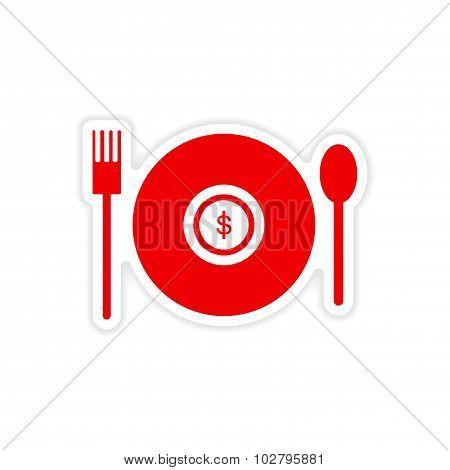 stylish sticker on paper money in plate