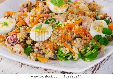 Mixed Seafood Salad With Quinoa.