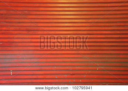 Old Orange Metal Door Shutter Texture Background