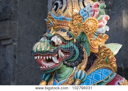 Traditional Balinese God Statue In Temple. Indonesia