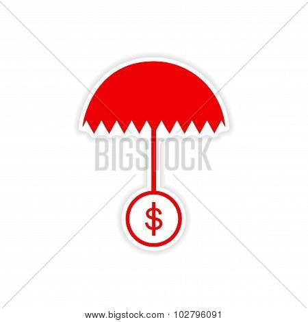 stylish sticker on paper umbrella and coins