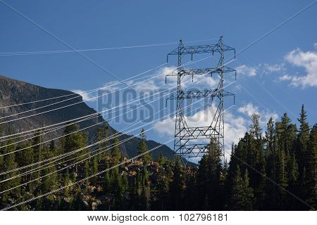 High Voltage Power Lines in the Mountains