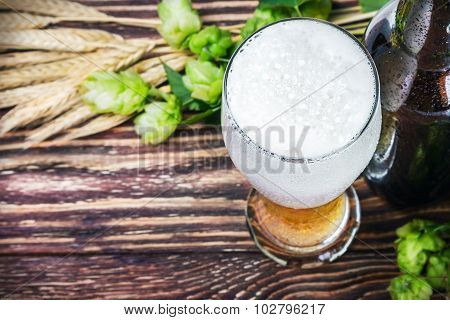 Glass With Beer With Hop On A Wooden Table