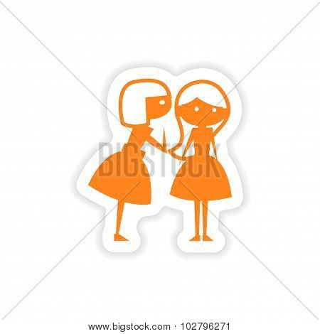 icon sticker realistic design on paper girlfriend conversation