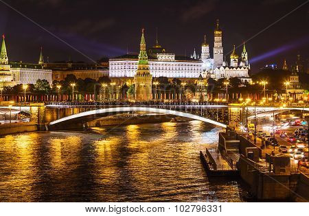View Of The Moscow Kremlin In Night Illumination Summer Evening