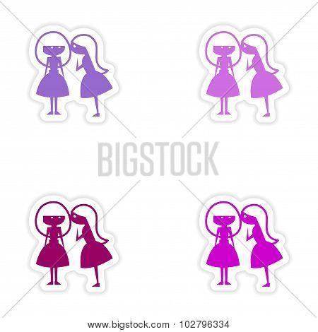 assembly realistic sticker design on paper girlfriend conversation