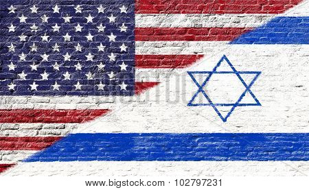 United states and Israel - National flags on Brick wall