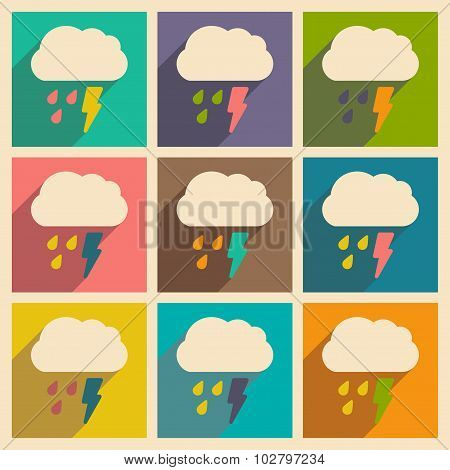 Flat with shadow concept and mobile application rain cloud lightning