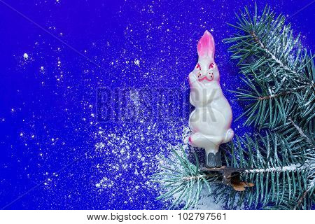 Vintage Christmas Toy Hare On A Branch With Artificial Snow