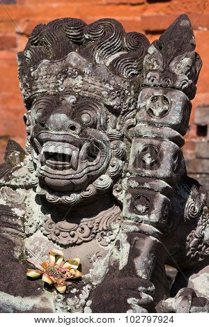 Stone Sculpture In Temple . Ubud, Bali, Indonesia