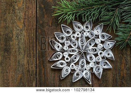 Goodly Snowflake In Quilling Techniques For Christmas Decoration