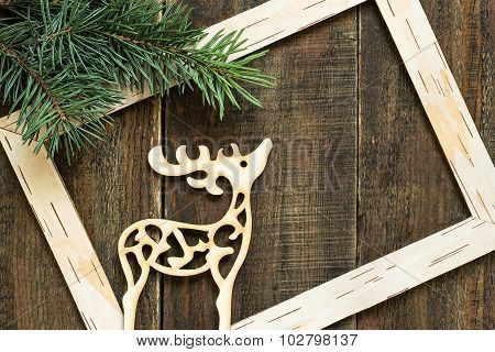 Fresh Spruce Branches, Frame And Christmas Decoration Deer