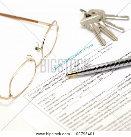 Lease Agreement Document With Key