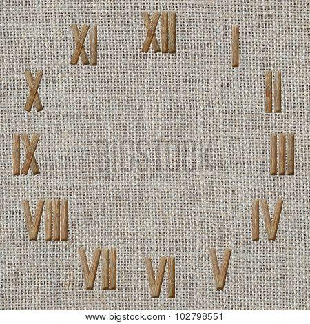 Roman Numerals Clock  On Burlap Fabric Background