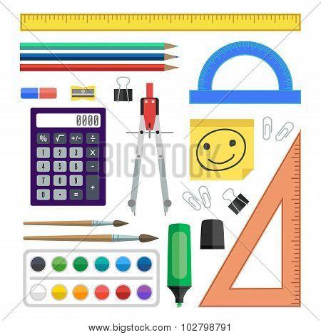 Flat Design Vector Illustration School Tools On White Background.
